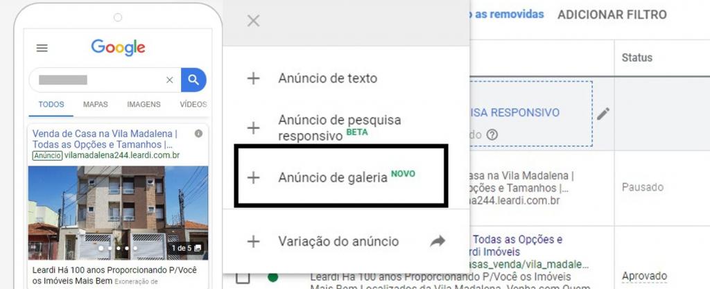 Confira Como funciona o anúncio de galeria do Google Ads?